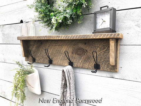 rustic modern farmhouse wall mount coat rack with shelf