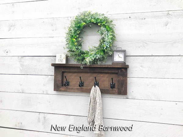 Farmhouse Wall Mounted Coat Rack With Shelf, Entryway Coat Rack with Shelf, Bathroom Towel Rack with Shelf, Wood Bathroom Shelf with Hooks