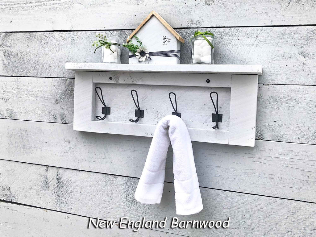 Farmhouse Bathroom Towel Rack With Shelf New England Barnwood