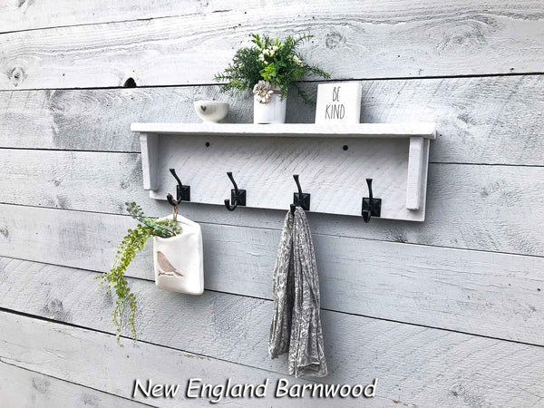 farmhouse bathroom shelf with hooks