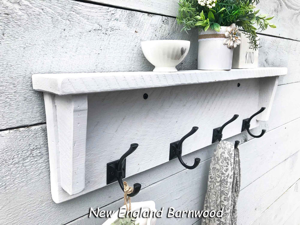 Rustic Farmhouse Bathroom Towel Rack With Shelf New England Barnwood