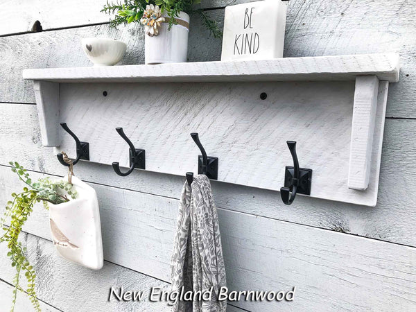 rustic modern farmhouse entryway shelf with hooks
