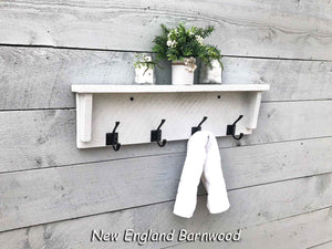 rustic modern farmhouse bathroom shelf with hooks