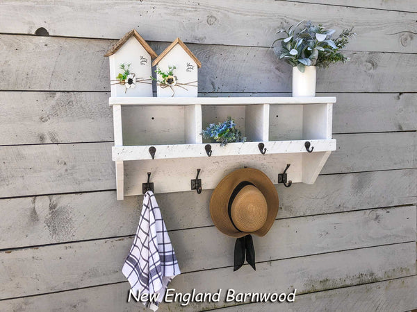 entryway cubby shelf with coat hooks