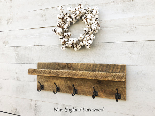 Rustic Modern 5 Hook Farmhouse Entryway Coat Rack with Shelf