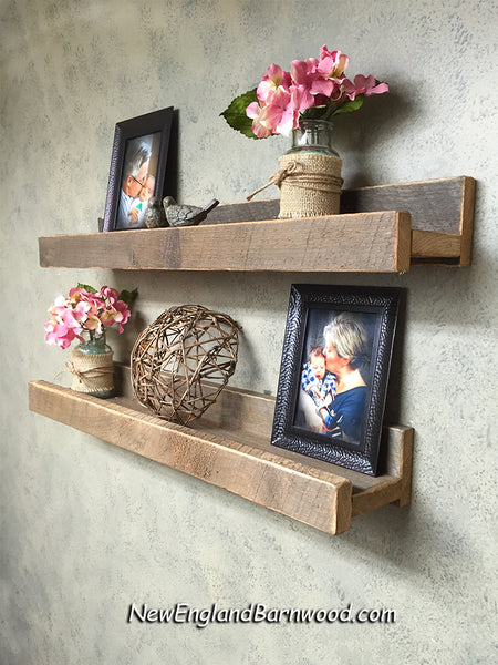 rustic wooden picture ledge shelf