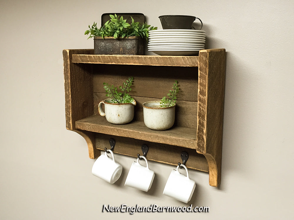 Vintage Inspired Rustic Kitchen Shelf with Hooks