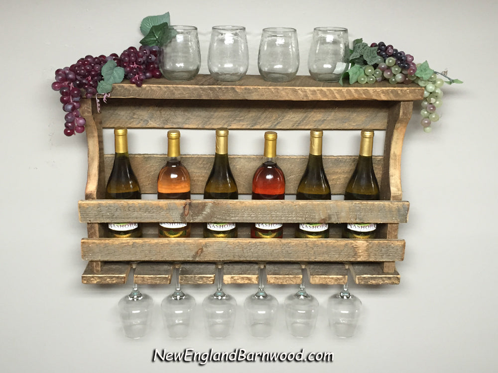 Vintage Style Wall Mount Wine And Glass Wine Rack New