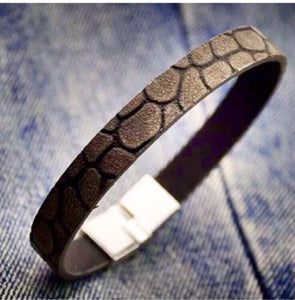 Alloy faux leather bracelet for Men in Black Colour
