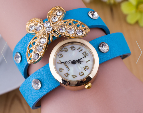 Crystal Butterfly Bracelet Wrap Around Watch for Women
