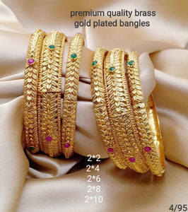 Gold Plated Brass Bangles - 6 pcs Set