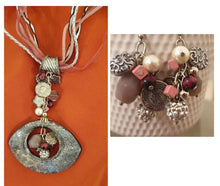 Multilayer String Necklace with Large Stone Pendant