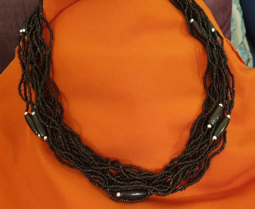 Black Beads Choker Necklace