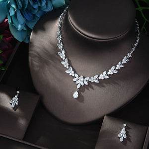 HIBRIDE Luxury New Design AAA Zircon Water Drop Shape Necklace Pendant Set for Women High Quality Party Jewelry Bijoux N-812 - La Veliere