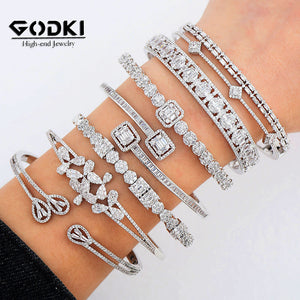 Luxury Stackable Cuff Bangles For Women - AAA Cubic Zircon Crystal CZ