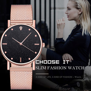 Watch Women Dress Stainless Steel Band Analog Quartz Wristwatch Fashion Luxury Ladies Golden Rose Gold Watch Clock Analog
