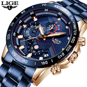 LIGE 2020 New Fashion Men's Stainless Steel Cronograph Quartz Watch