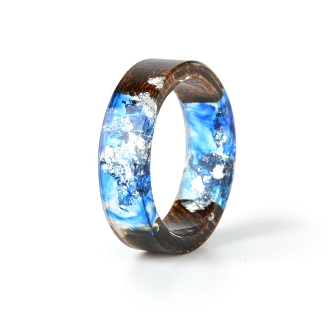 2020 Hot Sale Handmade Wood Resin Women's Ring with Dried Flowers