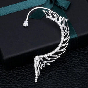 HIBRIDE Angel Wing Ear Cuff Cubic Zirconia Women Left Ear Only Wedding Party Movie Star Red Carpet Earring Boucle d'oreill E-947