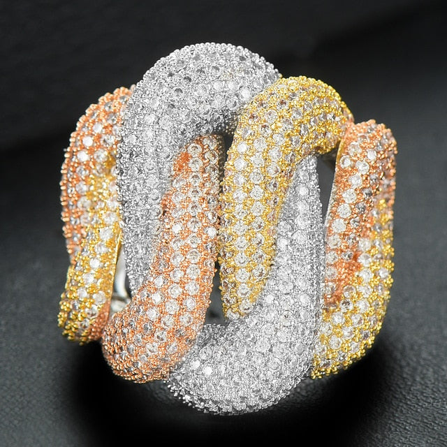 Luxury Tricolor Crossover Bold Rings with Zirconia Stones 2020 Women Engagement Party Collection