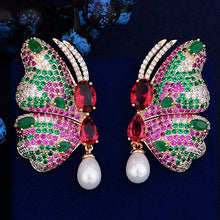 New Vintage Butterfly Earrings Luxury Bohemian Imitation Pearl Dangle Earrings For Women Wedding Fashion Jewelry