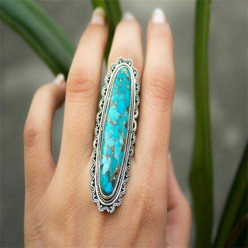 Creative Indian Style Green Turquoise Ring Women Men Big Blue Vintage Finger Ring Jewelry Green Pine Stone Ring - La Veliere