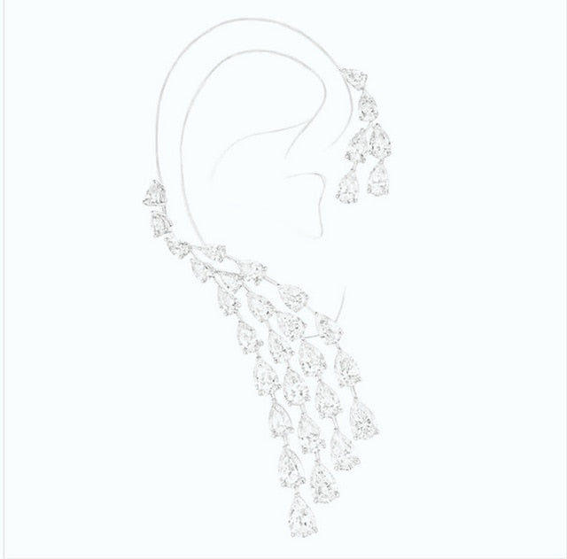HIBRIDE Luxury Design Clear Cubic Zircon Water Drop Ear Cuff Women Clip Earrings Single Piece E-407