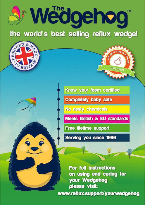 Medical Grade NHS Wedgehog® - 28cm Moses Reflux Wedge - includes Free Bundled Reflux eBook - The Wedgehog®