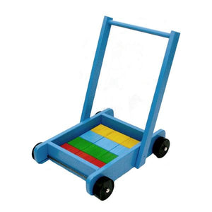 Blue Push Trolley with Blocks Toys Not specified