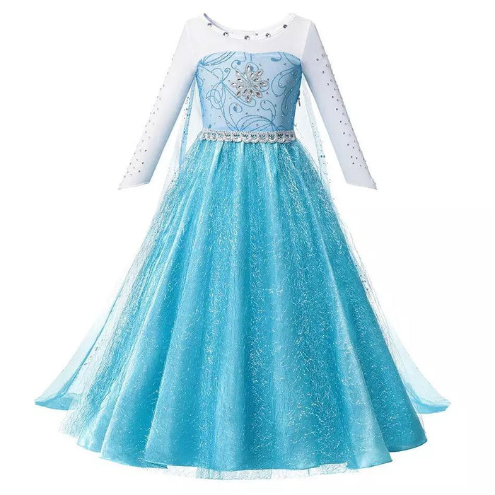 Blue Snowflake Princess Dress
