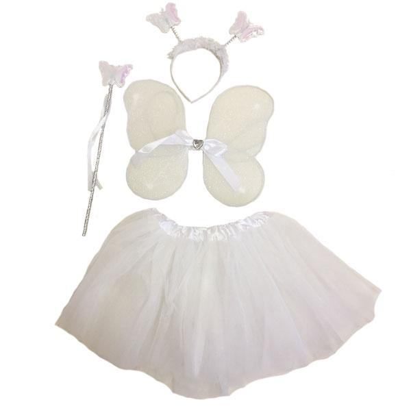 Butterfly Wing & Tutu Set White