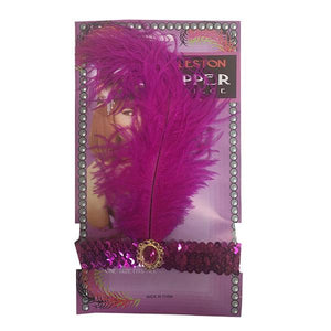 Charleston Flapper Feather Headband Dress Up Not specified Dark Pink