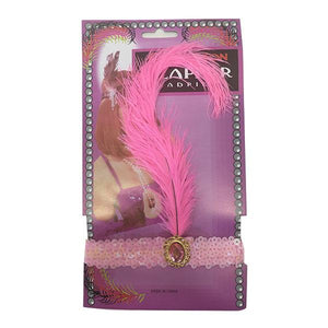 Charleston Flapper Feather Headband Dress Up Not specified Light Pink