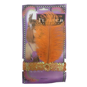 Charleston Flapper Feather Headband Dress Up Not specified Orange