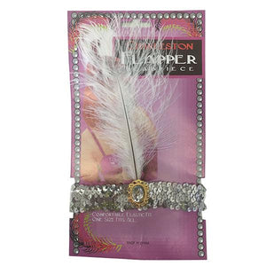 Charleston Flapper Feather Headband Dress Up Not specified Silver