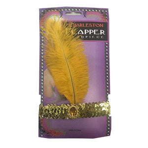 Charleston Flapper Feather Headband Dress Up Not specified Yellow