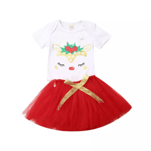 Christmas Reindeer Romper with Red Tutu Clothing Not specified