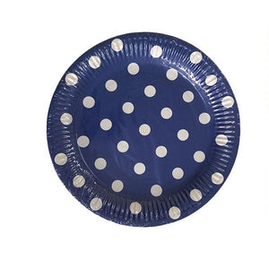 Dark Blue Polka Dot Plates Parties Not specified