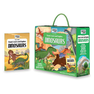 Dinosaurs 200pc Puzzle & Book Toys Sassi