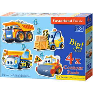 Funny Building Machines 3+4+6+9 Puzzles Toys Castorland