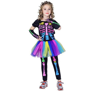 Kids Skeleton Multicolour with Tutu Dress Up Not specified