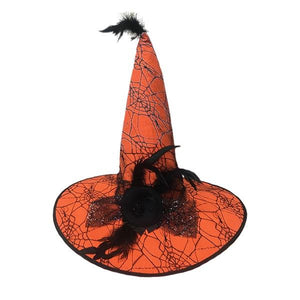 Orange Witch Hat with Feathers Dress Up Not specified