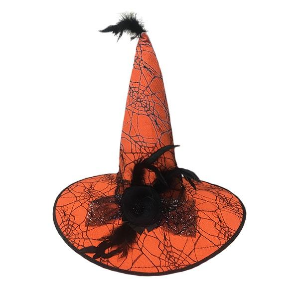 Orange Witch Hat with Feathers
