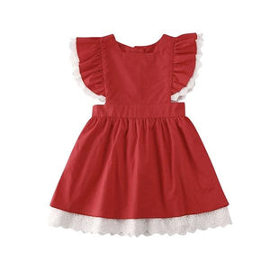 Red Christmas Dress White Trim Dress Up Not specified