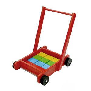 Red Push Trolley with Blocks Toys Not specified