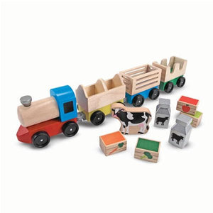 Wooden Farm Train Toys Melissa & Doug