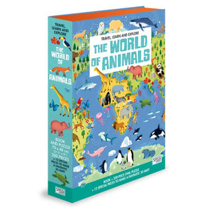 World of Animals 200pc Puzzle & Book Toys Sassi