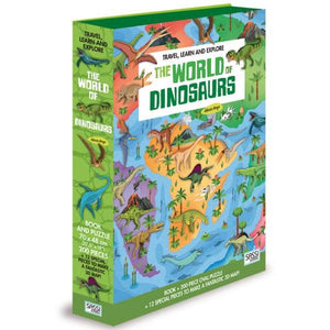 World of Dinosaurs 200Pc Puzzle and Book Toys Sassi Jnr