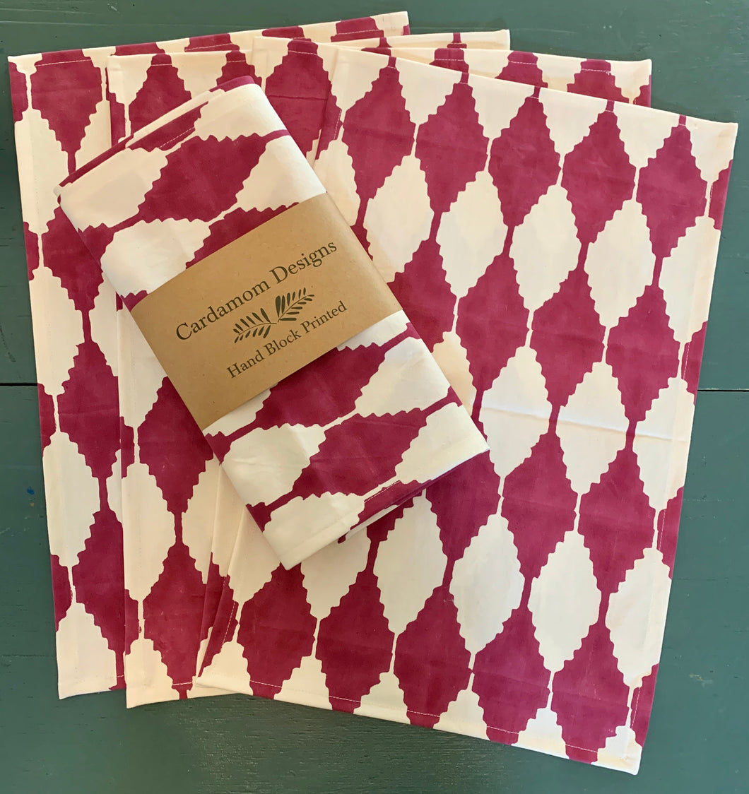 Stepwell Placemats in Cranberry