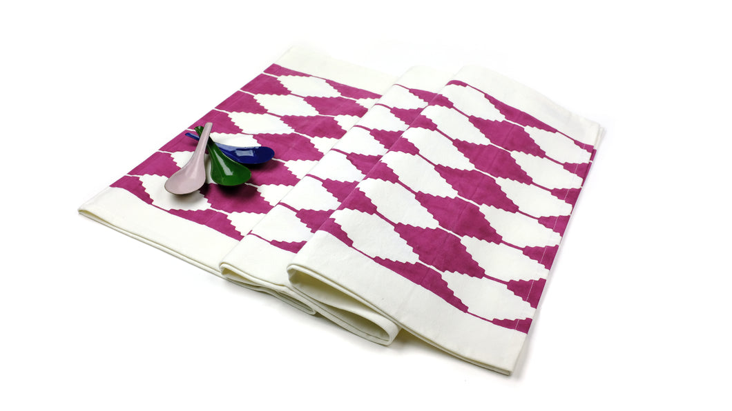 Stepwell Table Runner in Cranberry